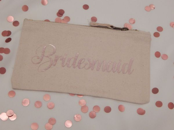 Personalised Wide Canvas Make Up Bag  - Wedding Role